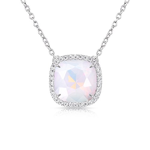 Alantyer Birthstone Necklace Made with Square Swarovski Crystal for Women and Girls,Simulated Pearl (June ()