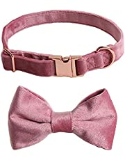 SYOOY Dog Collar with Bow Adjustable Pet Bow Tie Collar Soft Light Durable Buckle Collar for Dogs and Cats Small Medium Large - Pink