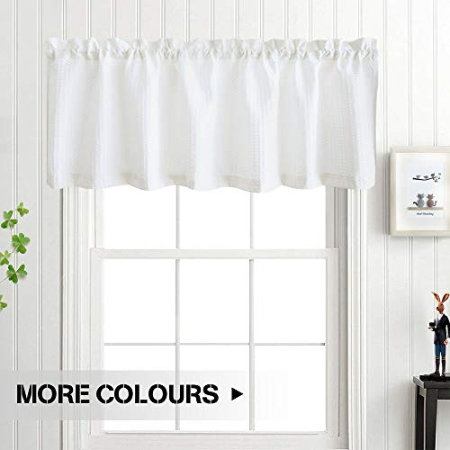 18 Inch Valance - White Valance Curtain 18 inch Waffle Weave Fabric Window Curtain for Kitchen Living Room Bedroom 60 by 18 inch One Panel