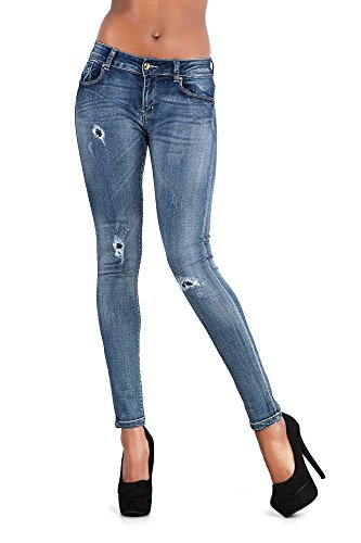 Vaqueros Blue LustyChic Ripped Embellished mujer para RpHrdqwWp