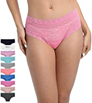 Pmrxi Pack of 8 Women All Lace Cheeky Hipster Panties, Assorted 8 Different Lace Pattern Colors