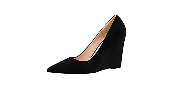 Hyperbole Womens Low-Top Wedge Heel Slip-on Court Shoes B US 5 White M