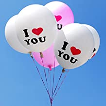 "Gogogo 10X 12"" Latex I Love You Balloon for Birthday Wedding Party Celebration DIY D¨¦cor (White)"