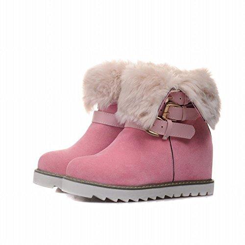 süße Ferse Carolbar kurze warme Schnalle Pink versteckte Frauen Stiefel Schnee wXBr5w