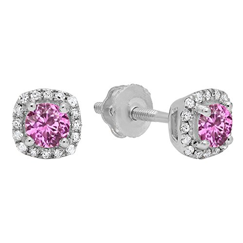 (Dazzlingrock Collection 10K 3.5 MM Each Round Pink Sapphire & White Diamond Ladies Halo Style Stud Earrings, White Gold)
