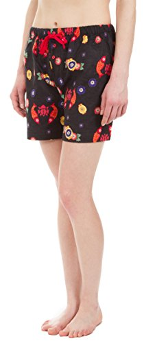 - Leisureland Women's Pure Cotton Flannel Lounge Pajama Boxer Shorts Japanese Koi Lantern Print Black (Large)