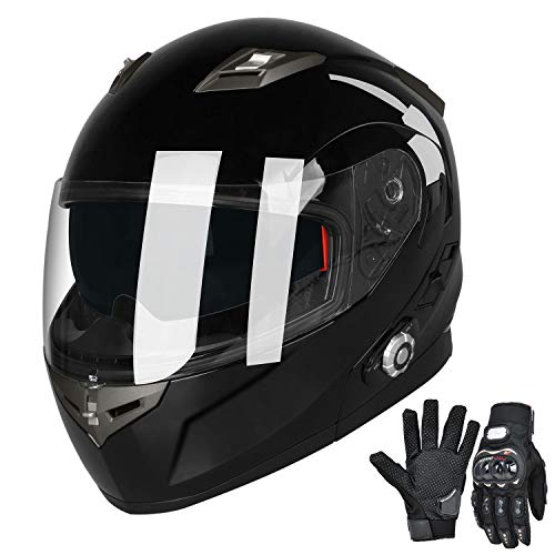 - Bluetooth Motorcycle Helmets FreedConn Full Face Integrated Modular Flip up Dual Lens Helmet With 500M FM Radio GPS Intercom Headset Communication (DOT approved,Gloss Black, X Large)