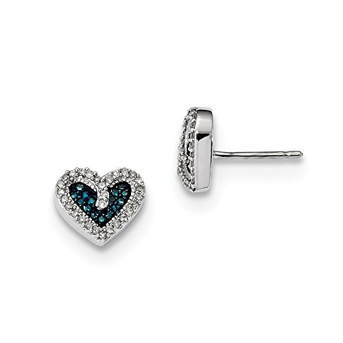 Sterling Silver Blue and White Diamond Heart Post (0.067 Ct Diamond)