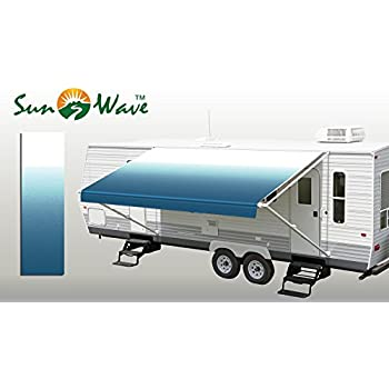 """SunWave Awning Fabric Ocean Blue Fade 16' *(approximate fabric width 15' 2-3"""")*"""
