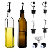 STONEKAE 17oz Glass Olive Oil Bottles Dispense Set - 500ml Dark Brown Oil & 500ml transparent Vinegar Cruet with Pourers and Funnel - Olive Oil Carafe Decanter for Kitchen