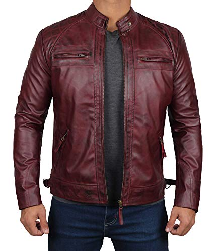 Maroon Leather Jacket Men for Bikers - Distressed Lambskin Waxed Motorcycle Leather Jacket |M
