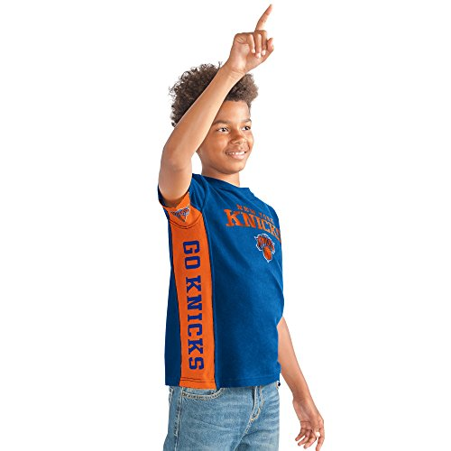 Hands High NBA New York Knicks Youth Boys Side bar Short Sleeve Top, X-Large, Royal -