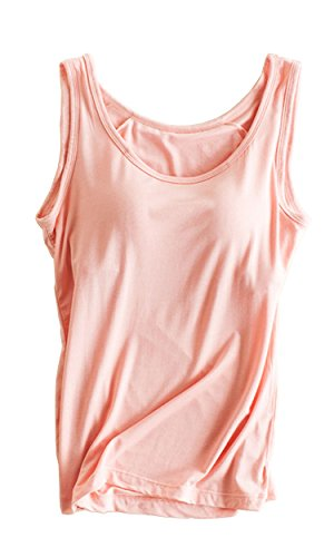 Foxexy Womens Modal Strap Built-in Bra Padded Active Camisole Tank Top Pink US 6-8