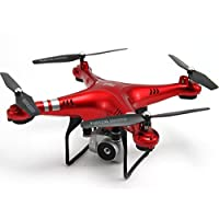 Drone HR SH5 4CH 6 Axis With 720P HD Camera FPV One Key To Auto-Return Headless Mode 360°Rolling Access Real-Time Footage Hover RC (Red)