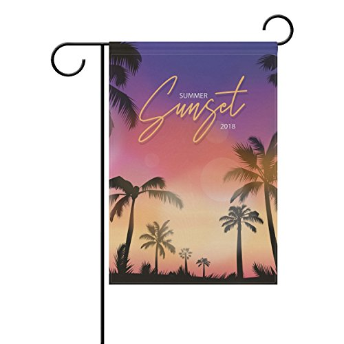"""LEISISI Realistic Sunset Scene Garden flag 12""""X18"""" Two Sided"""