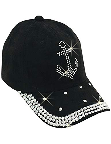 Anchor Bling Cap - Rhinestone Studded Hat w/Hook and Loop Adjustable Back ()