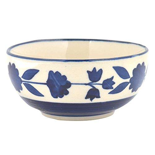 Indianshelf Handmade Ceramic White Blue Floral Border Bowl Statues Decoration Designer Vintage Statement Pieces Online New by Indian Shelf