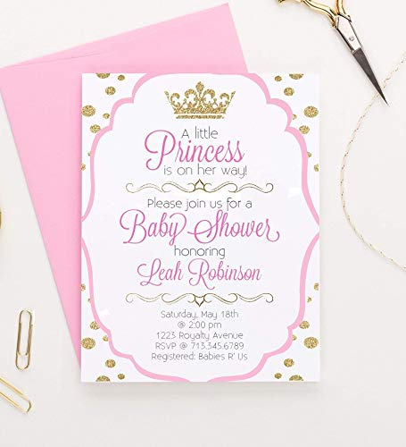 Little Princess Baby Shower Invitations, Princess Baby Shower Invitations, Royal Princess Baby Shower Invitations, Modern Baby Shower Invitation, Your choice of Quantity and Envelope (Handmade Baby Shower Invitation)