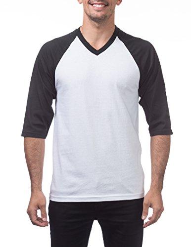 Pro Club 3/4 Sleeve V-Neck Baseball Shirt, Medium, White/Black ()
