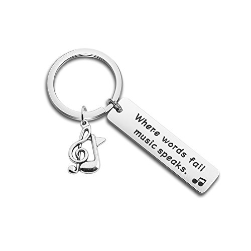 ENSIANTH Music Gift Where Words Fail Music Speaks Expandable Music Charm Bangle Music Lovers Jewelry (Music Keychain) -