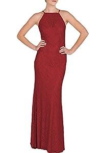 MUSHARE Women's Lace Sexy Open Shoulder Elegant Wedding Bridesmaid Maxi Long Dress