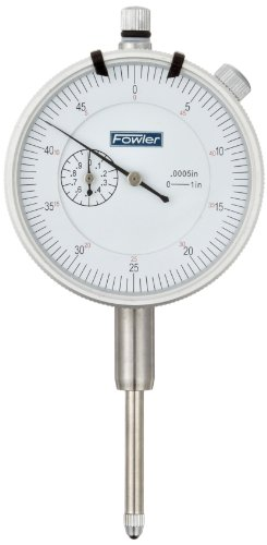 "Fowler 52-520-129 AGD Dial Indicator, White Face, 1'' Travel, .0005"" Reading, 2.25'' Diameter by Fowler"