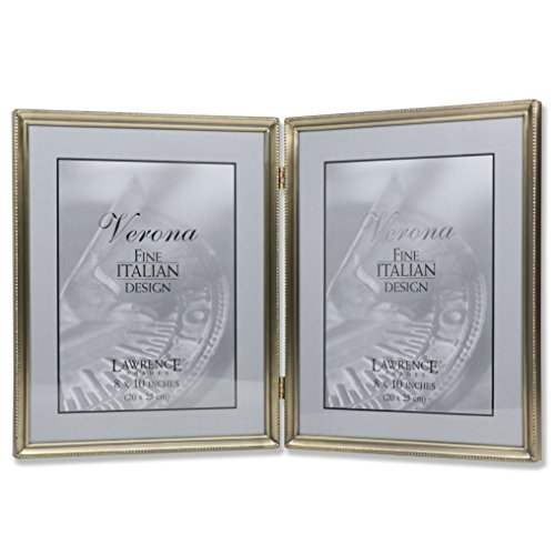Lawrence Frames Antique Brass 8x10 Hinged Double Picture Frame - Bead Border Design