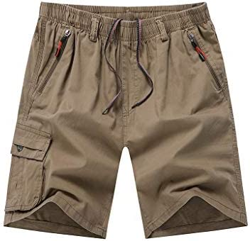 LF- 夏のメンズショートパンツコットンルーズ大きいサイズのメンズカジュアル五点パンツメンズショートパンツを着用してください 快適な (Color : Khaki, Size : 3XL)