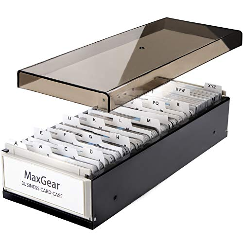 MaxGear Business Card Holder Box Business Card Box Business Card File Business Card Storage Business Index Card Organizer Rolodex, Capacity: 800 Cards, Card Size: 2.2x3.6in, A-Z Index, Metal Structure]()