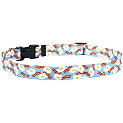 """Yellow Dog Design Bacon and Eggs Dog Collar 3/8"""" Wide and Fits Neck 8 to 12"""", X-Small"""