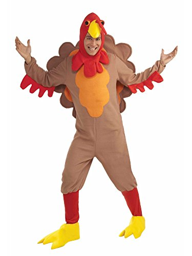 Forum Novelties Men's Adult Fleece Turkey Costume, Brown/Yellow/Red, Standard -