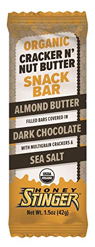 Almond Chocolate Honey - Honey Stinger Cracker N' Nut Snack Bars, Dark Chocolate Almond Butter, 12 Count