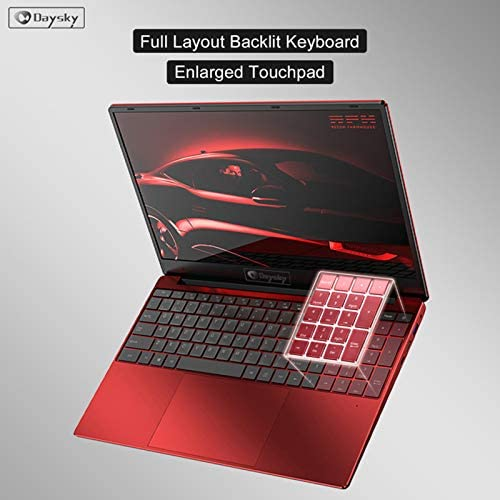 "Daysky R9 PRO Laptop, 15.6"" Full HD IPS Display, Intel Celeron J4115 Processor, 12GB DDR4 RAM 256GB SSD, Number Keyboard Easy Typing, RJ45 Network Port, Windows 10, Red"