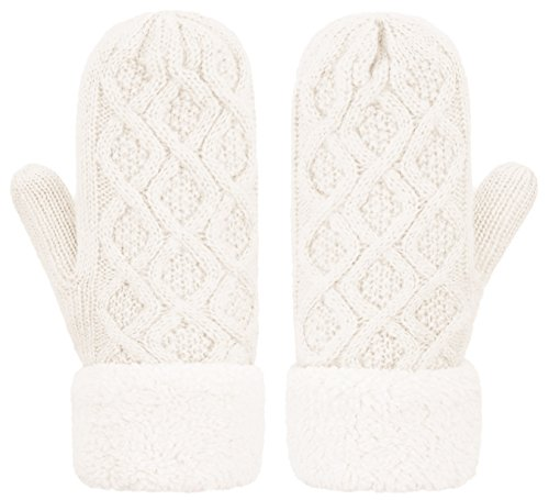 IL Caldo Womens Knitted Mittens Winter Twist Thick Plush Edge Warm Outdoor Gloves