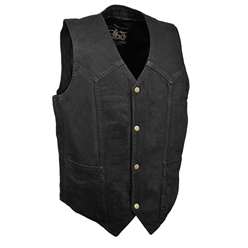 Men's Denim Western Style Snap Front Vest- Plain & Side Lace Versions (Black - Plain Side, ()