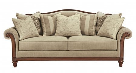 Ashley Berwyn View Collection 8980338 95″ Sofa with Textured Fabric Upholstery Molding Detail Rolled Arms and Traditional Style in