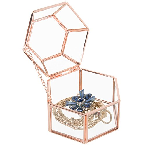(MyGift Faceted Hexagonal Clear Glass & Rose Gold-Tone Metal Hinged Top Lid Terrarium Box/Tabletop Display Case)