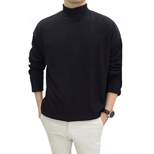 Tastyfits Mens Mock Turtleneck Sweater Fleece Lined, Cotton Casual Polo Roll Skivvy Neck Knit Pullover Slim Fit Thermal Shirt Boys Ribbed Turtle Neck Top With Long Sleeve For Men (Black, Large)