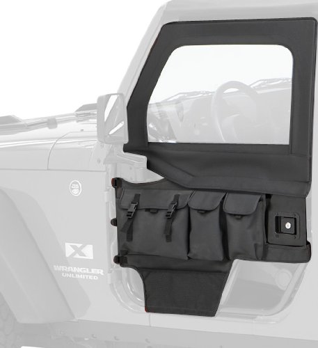 Bestop 51812-15 Matte Black Denim Element Door Storage Bag Set for 1976-2006 CJ-7, CJ-8 Scrambler and Wrangler - Front (pair) by Bestop