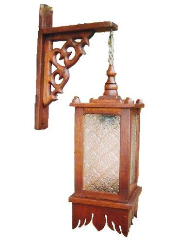 Vintage Thai Teak Wood Wall Decor Square Lamp with Wall Holder