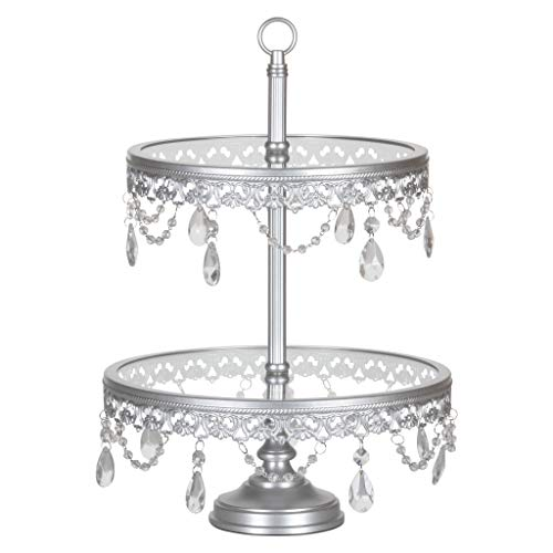 Amalfi Decor 2 Tier Dessert Cupcake Stand with Glass Tops, Pastry Candy Cake Cookie Tower Holder Plate for Wedding Event Birthday Party, Round Metal Crystal Pedestal, Silver