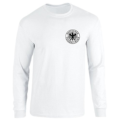 Pop Threads Germany Soccer Retro National Team White XL Long Sleeve T-Shirt - Retro Shirts Shirt Football