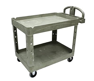 Rubbermaid Commercial Heavy-Duty Utility Cart, Lipped Shelves, Medium, Black (452088BK)