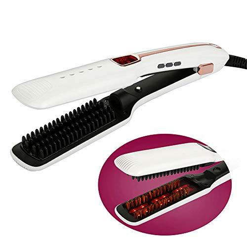 Cepillo que se endereza multifuncional,3 en 1 Ion negativo Calentador vapor de spray infrarrojo Cepillo de plancha de pelo...