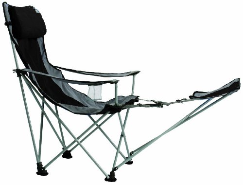 TravelChair Big Bubba High Back Folding Camp Chair with Footrest, Black