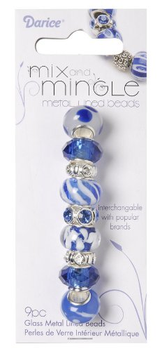 Darice Mix and Mingle Glass Lined Metal Beads, Blue and White