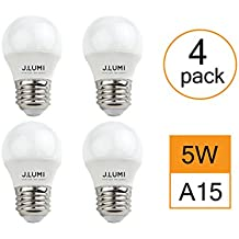 J.LUMI BPC4505 LED Light Bulb 5W, A15 Bulb, G45 Bulb Shape, Replaces 40W Incandescent, E26 Medium Base, 3000K Warm White, Not Dimmable (Pack of 4)