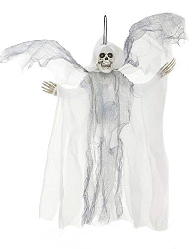 Halloween Decor Animated Flying-Winged Skeleton Reaper 18 inch White by Mark (Animated Flying Winged Reaper)
