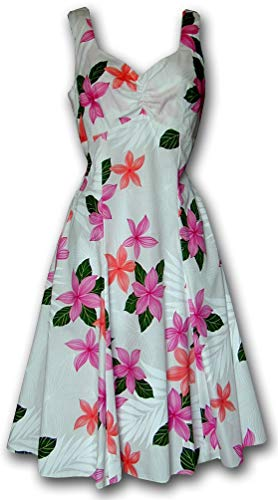 Pacific Legend Collection Plumeria Hawaiian Dress - Womens Hawaiian Dress - Aloha Dress - Hawaiian Clothing - 100% Cotton Pink XL