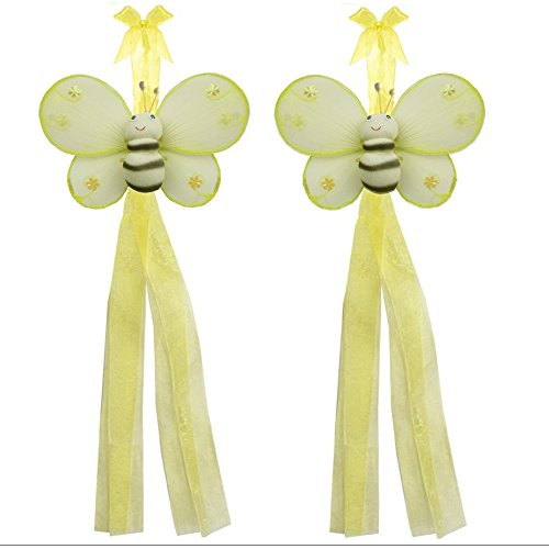 Bumblebee Curtain Tiebacks Yellow Hailey Bee Bumble Nylon Decorations Window Treatment Holdback Tie Back PAIR SET Bugs-n-Blooms